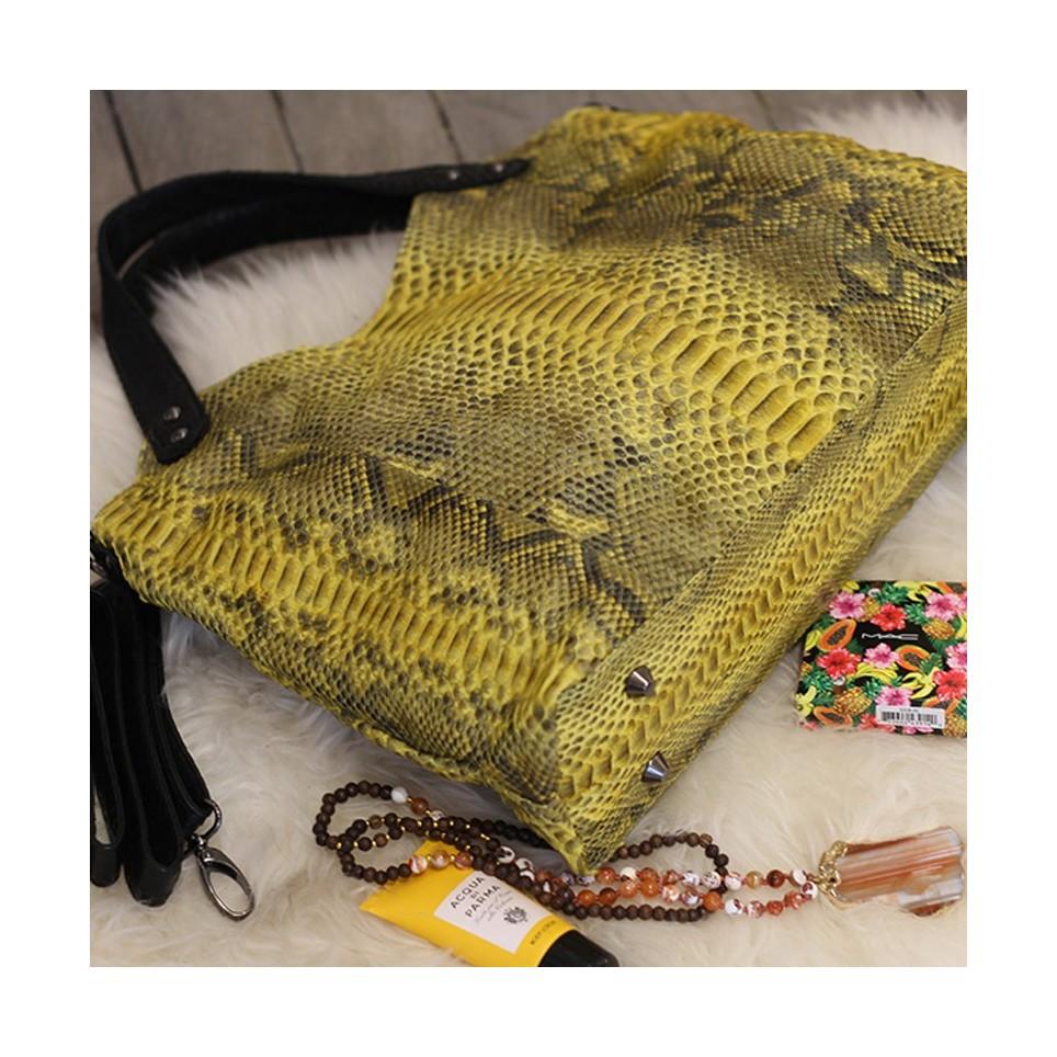 Napoly sac à main en python jaune motif