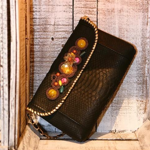 Pochette bijoux en python véritable