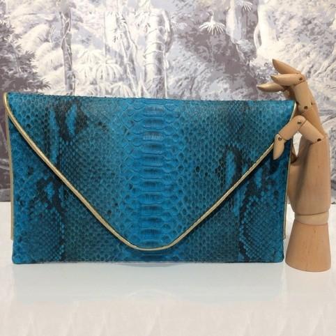 Grande enveloppe en python Turquoise Motifs