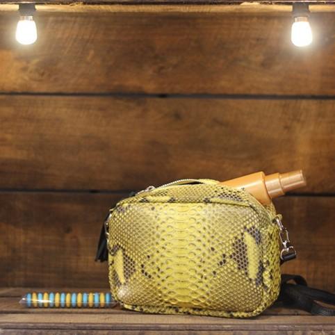 Camera Bag en Python jaune motif