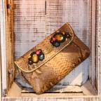 Pochette bijoux en python Beige motif