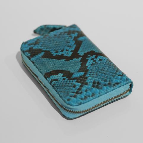 Porte Monnaie en python Bleu motif