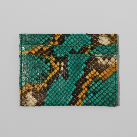 Porte carte en python Vert motif