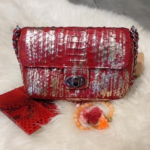 UmaMini Bag en Python Rouge Et Or