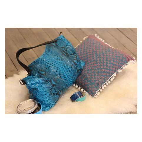 Napoly sac à main en python turquoise