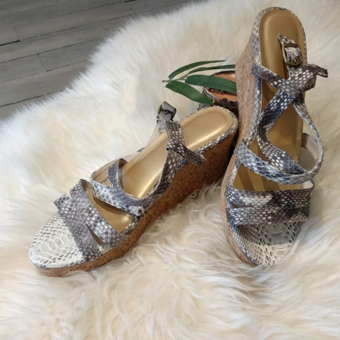 Natural python sandals