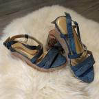 Sandales en python Bleu