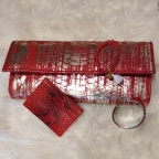 Clutch Baguette Rouge et Or