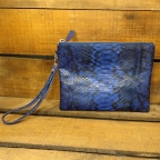 Blue python pouch with handle