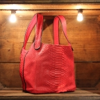 Red Python Bucket Bag