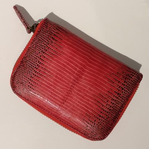 Porte Monnaie en lezard Rouge motif