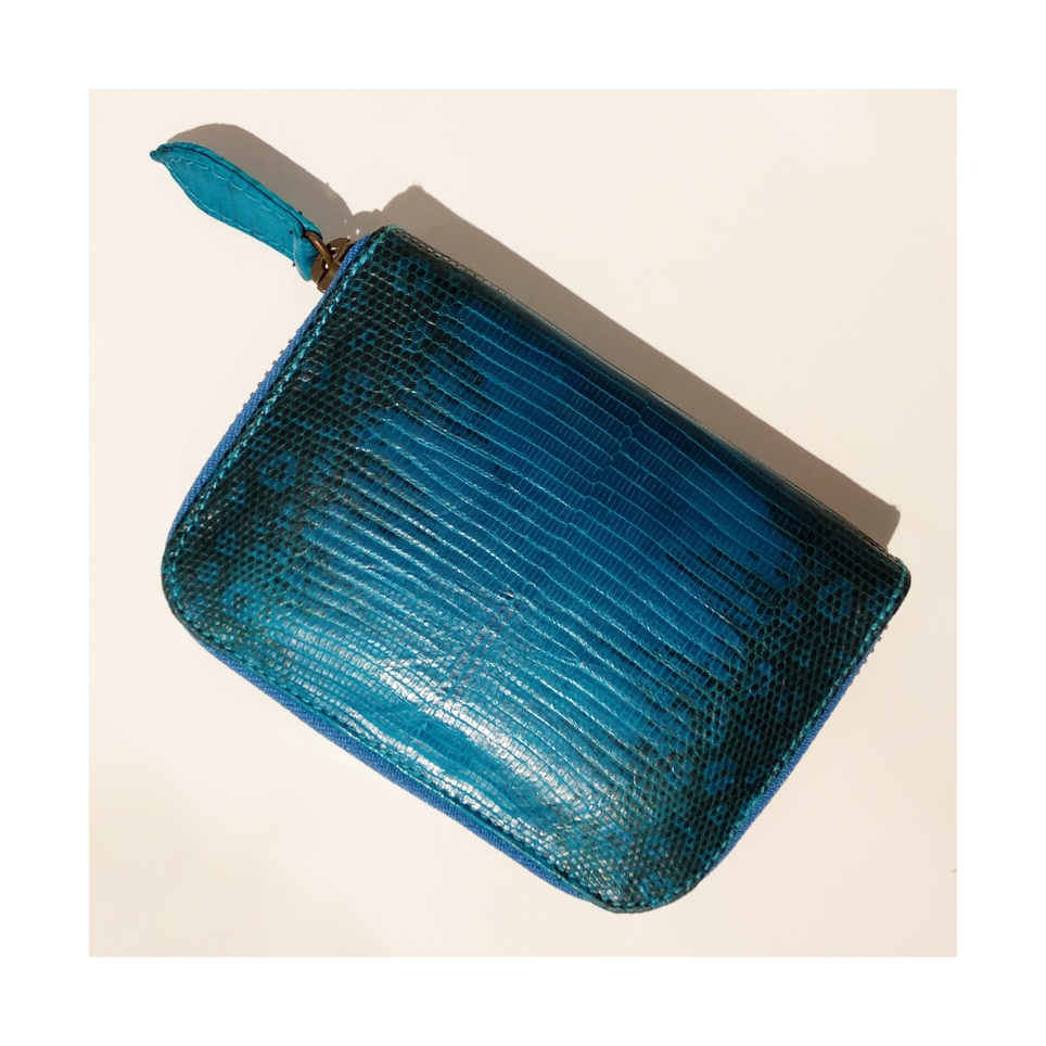 Porte Monnaie en lezard Bleu