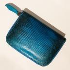 Porte Monnaie en Lezard Bleu motif