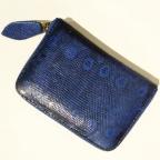 Porte Monnaie en Lezard Bleu Nuit motif