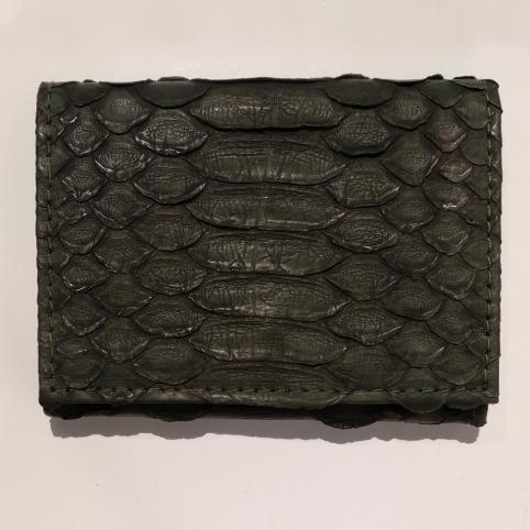 Porte Carte avec Rangement Monnaie en Python Vert