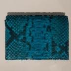 Porte Carte avec Rangement Monnaie en Python Turquoise