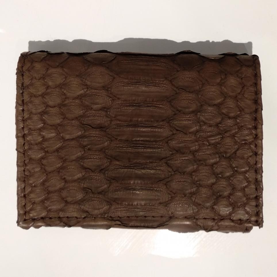 Porte Carte avec Rangement Monnaie en Python Chocolat