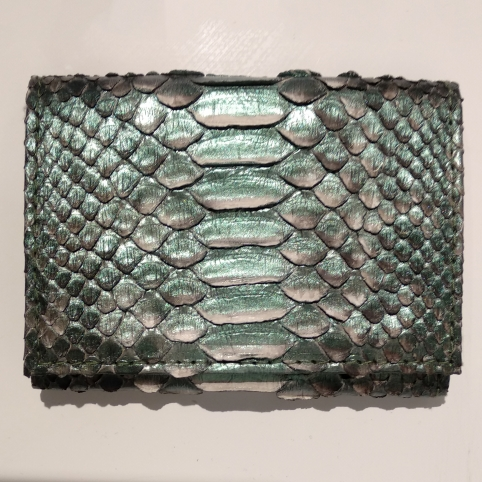 Porte Carte avec Rangement Monnaie en Python Nacre Verte