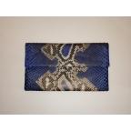Pochette Clutch bleue motifs