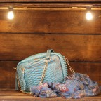 Light Blue / Bronze Python Camera Bag with zipped pocket